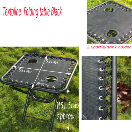 TEXTOLINE OUTDOOR GARDEN PORTABLE FOLDING TABLE TWO BUILT IN CUP DRINK HOLDERS