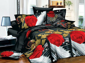 3D-Duvet-Cover-Pillowcase-Quilt-Cover-Bedding-Set-Single-Queen-King-oaul-Rose