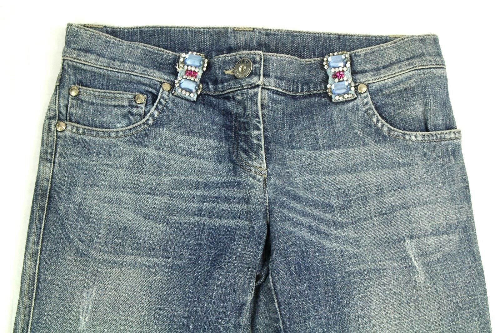 Montana blue Women's Jeans Low Rise Distressed Crystal Embellished  625