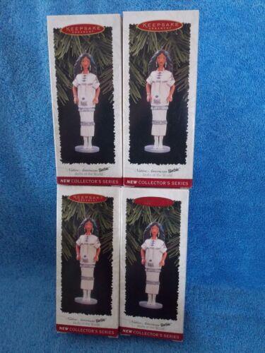 New Lot Of 4 Hallmark 1996  Native American Indian Barbie Doll  Ornament