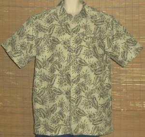 LL-Bean-Hawaiian-Shirt-Green-Tan-Floral-Size-XL-TALL