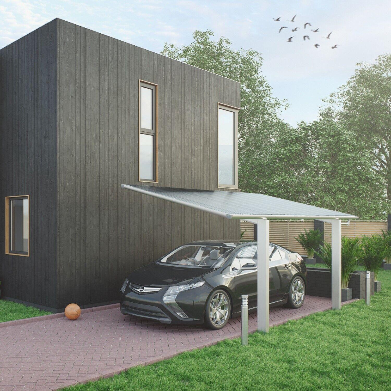 Aluminium Carport Bausatz Einzelcarport freistehend Edel Stahl Look 531 x 275 cm