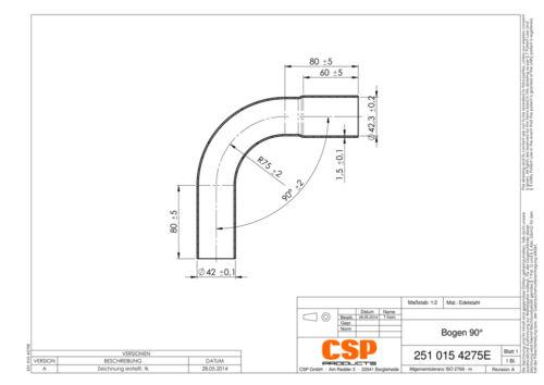 Edelstahl Stahl Auspuff Universal Rohrbogen 42mm 90° mit Muffe Auswahl zw