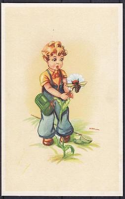Tolle Künstler AK Nindl Kind mit Sonnenblume und Biene ungebr.