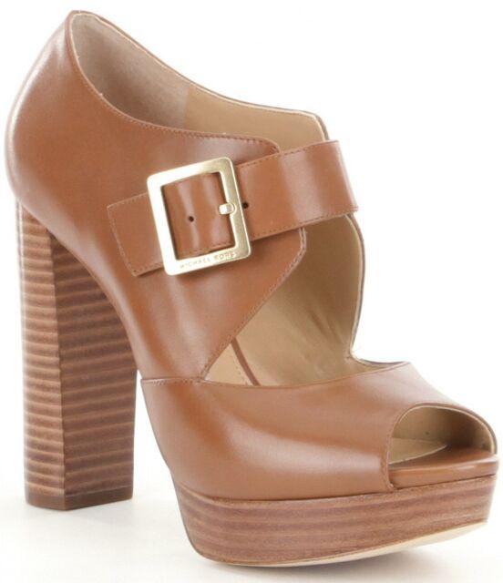 ddd80cb90bd Michael Kors Eleni Platform Brown Leather Buckle Sandal PEEP Luggage ...