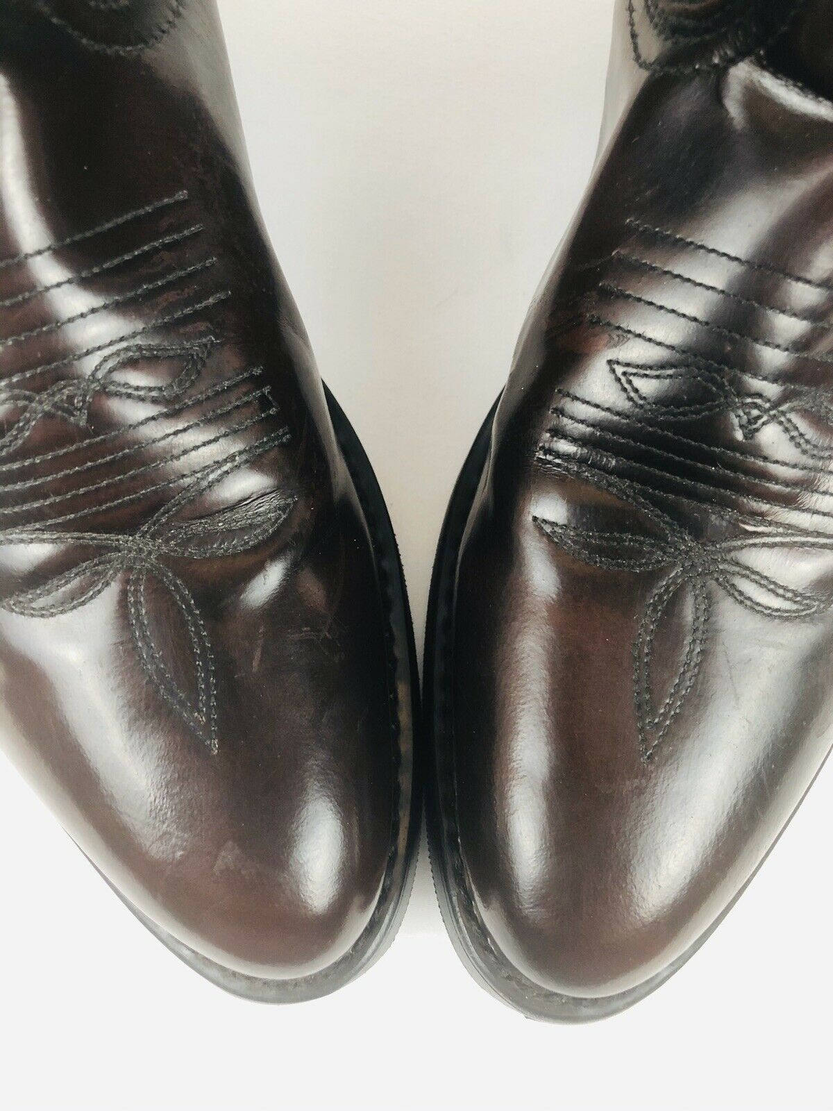 Masterson RB875 Leather Burgundy Cowboy Weatern Boots With Stitching Size 8D