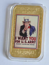 2014 Tristan da Cunha Large Gold plated Color 1 Cr WWII Propaganda-Uncle Sam