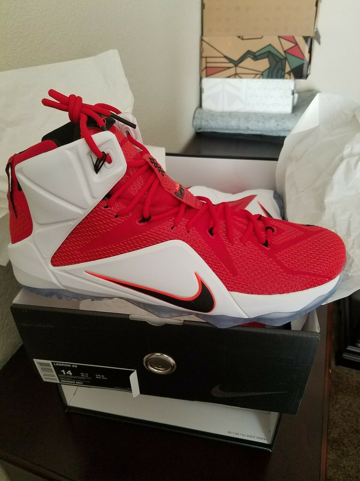 Nike LeBron 12 XII Fire Red Size 14