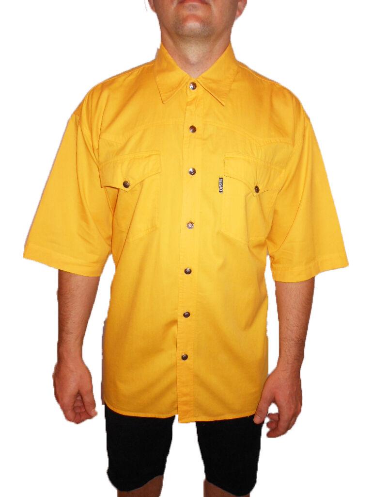 VERSACE Vtg 90s Mens Elegant Casual Classic Mod Gelb Heavy Cotton Shirt sz XXL   | Good Design