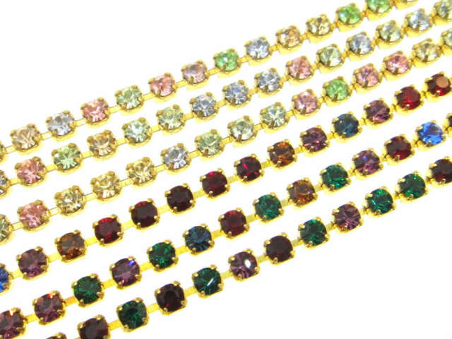 Austrian Crystal Rhinestone Chain - 4mm Light Multi or Dark Multi 3 Feet