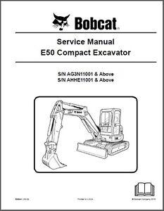 Details about Bobcat E50 Compact Excavator Service Manual on a CD ----- E 50