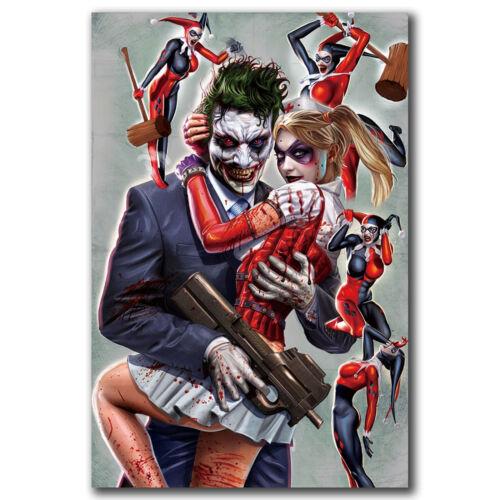 Joker and Harley Quinn Superheroes Art Hot 12x18 24x36in FABRIC Poster N3011