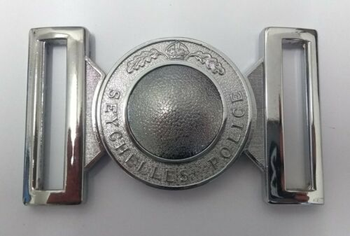 Genuine Seychelles Police Force Belt Buckle Chrome Locket Kings Crown MFB09