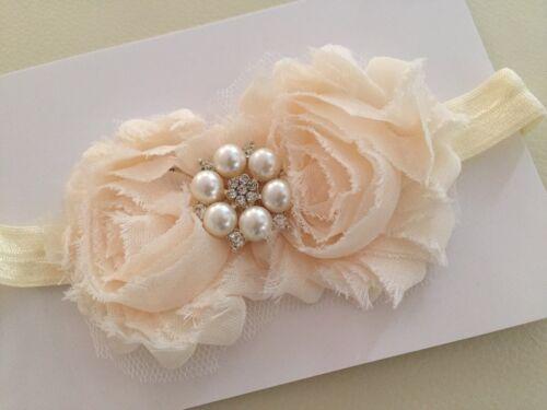 Newborn Baby Girl Christening Shabby Flower Ivory Cream Headband Wedding 0-18mos