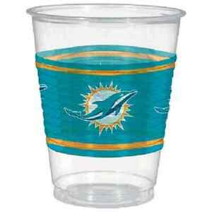 Miami Dolphins NFL Pro Football Sports Banquet Party 16 oz. Clear Plastic Cups