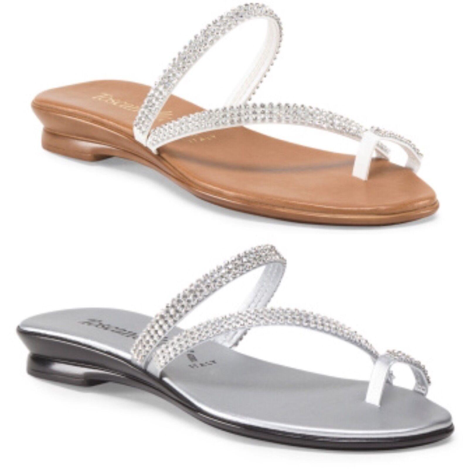 ITALIAN SHOEMAKERS TOSCANELLA Made In  Amaris Toe Ring Sandals RHINESTONE