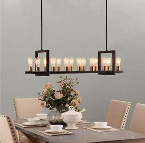New 14 Light Industrial Rectangular Brass Metal Chandelier