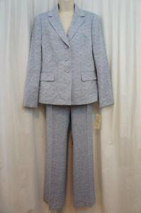 Evan Picone Pant Suit Sz 6 Navy Blue White Classic Time Business Dinner Suit