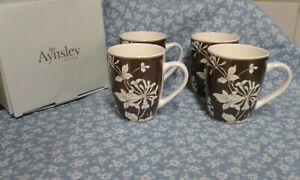 Details about Aynsley Mugs Set of 4 Honeysuckle Flower Floral Coffee Tea Mugs Cups NewBoxed