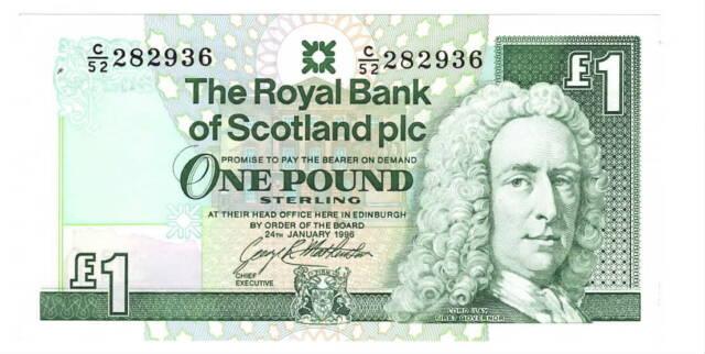 ROYAL BANK of SCOTLAND 1 Pound aUNC Banknote (1996) P-351c C/52 Prefix
