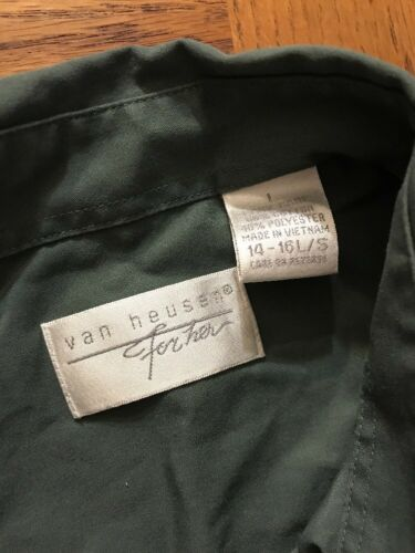 Womens Van 0051 Button L Down Heusen Shirt Gre 55r0Tx