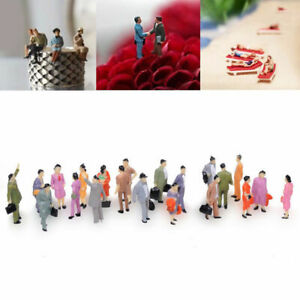 100PC-Scale-1-150-Mix-Painted-Model-Train-Street-Passenger-amp-Figures-People-D7N5