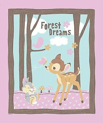 "Disney Bambi Doe Deer Woodland Dream Cotton Fabric Springs CP48999 36""X44"" Panel"