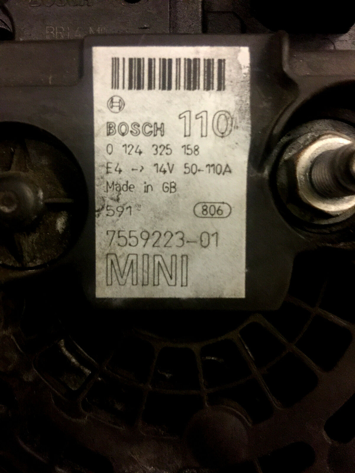 Part #: Bosch 7559223 BMW Mini One//Cooper R50//R52 Alternator 110 Amp NOT S