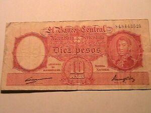 1935 Argentina 10 Pesos VF - Very Fine Ten Diez Peso Paper Money Banco Banknotes