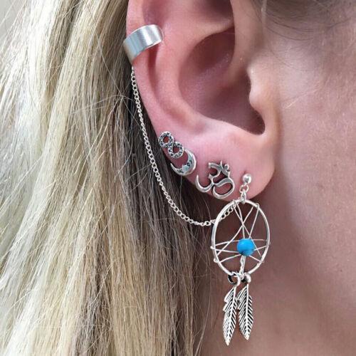 Vintage Dream Catcher Love Heart Stud And Chain Tassel Earrings IT