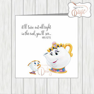 Details about Supportive Friendship Card Disney Quote Mrs Potts Chip It\'ll  Turn Out All Right