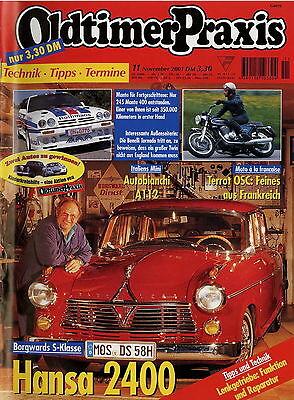 Oldtimer Praxis 2001 11/01 Terrot Osc Opel Manta 400 Benelli Tornado 650 A 112 Modische Und Attraktive Pakete Zeitschriften
