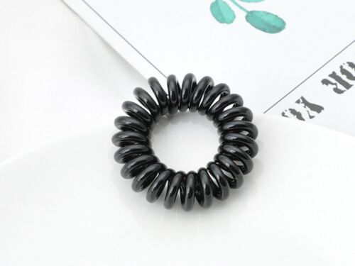 10 Opaque Color Spiral Coil Elastic Hair Scrunchies Telephone Cord 40mm Ponytail