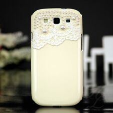 Samsung Galaxy S3 NEO i9300 Hard Case Schutz  Hülle Etui Perlen Creme 3D Bumper