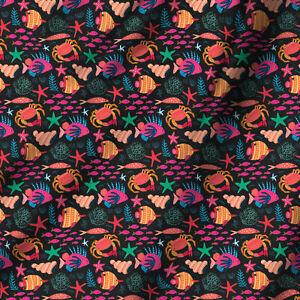 DIY-Soft-Fabri-Printed-Crab-Craft-Fabric-Dressmaking-Material-Coloured-By-1-Yard
