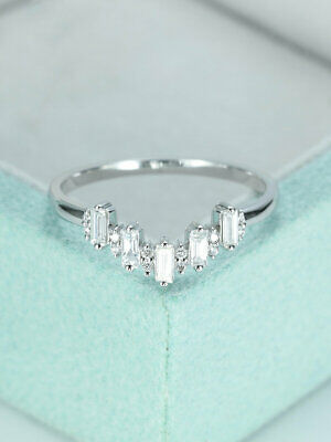 0.10 TCW Round Cut Diamond Curved Wedding Band Ring 14k White Gold Over