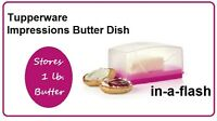 Tupperware Impressions Butter Dish Sheer Cover & Pink Base Holds One Pound 1 Lb