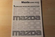 00085) Mazda E 2000 2200 - technische Daten & Aussstatungen - Prospekt 03/1992