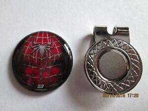 GOLF-Spider-Man-Spider-Logo-Golf-Ball-Marker-w-Magnetic-Hat-Clip-New