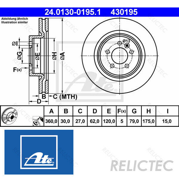 Front Brake Disc Land Rover:RANGE ROVER SPORT,DISCOVERY IV 4 SDB000622  SDB000623
