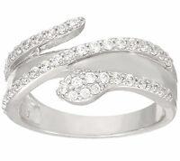 Diamonique Snake Design Ring, Platinum Clad