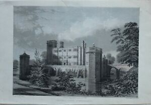 1845-ANTIQUE-PRINT-CAVERSWALL-CASTLE-STAFFORDSHIRE