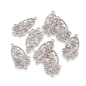 10pcs-Tibetan-Silver-Alloy-Chandelier-Component-Links-Oval-With-Flower-34x18mm