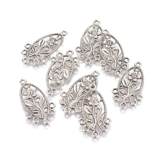 10pcs Tibetan Silver Alloy Chandelier Component Links Oval With Flower 34x18mm