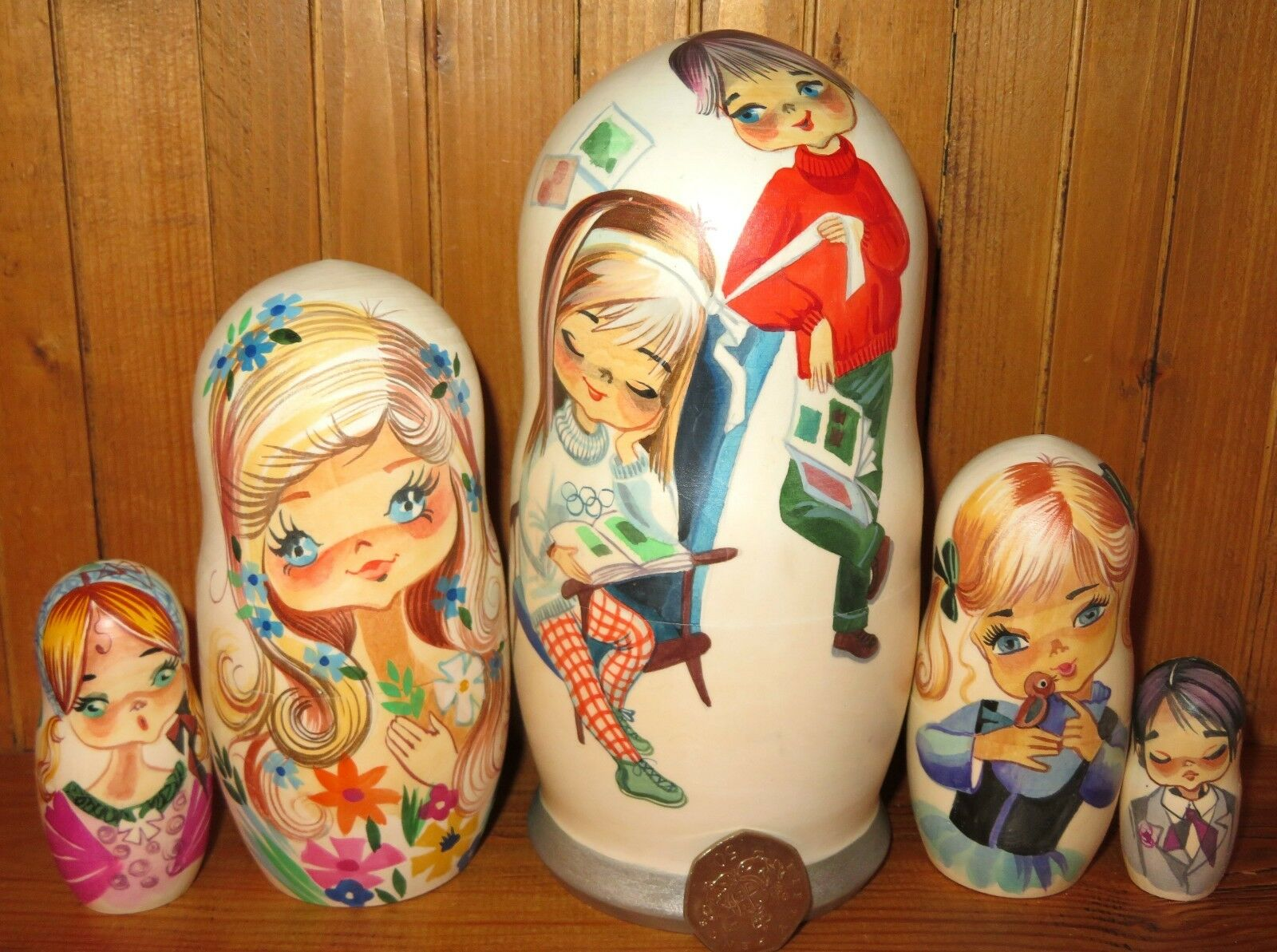 Vintage Big Eyed Girls Boys Postcard Nesting Russian Dolls Matryoshka 5 GALLARDA