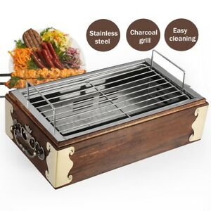 Stainless-Steel-BBQ-Grill-Food-Wood-Barbecue-Cooking-Charcoal-Stove-Portable
