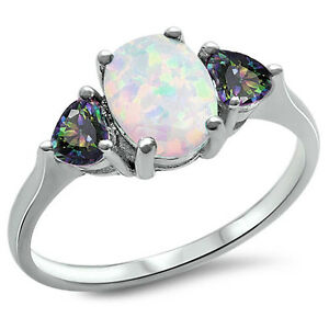 BEST-SELL-White-FIRE-Opal-amp-Rainbow-Cz-925-Sterling-Silver-Ring-SIze-4-11