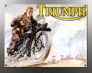 VINTAGE Triumph For Faultless Riding IMAGE BANNER NOS IMAGE REPRODUCTION
