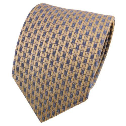 TigerTie Satin Seidenkrawatte gold grau blaugrau kariert Krawatte Seide Tie