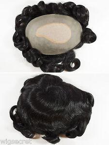 Grey-Brunette-Wavy-Hand-Tied-Mens-Wig-Toupee-6X8-5-in-Natural-looking-Skin-part